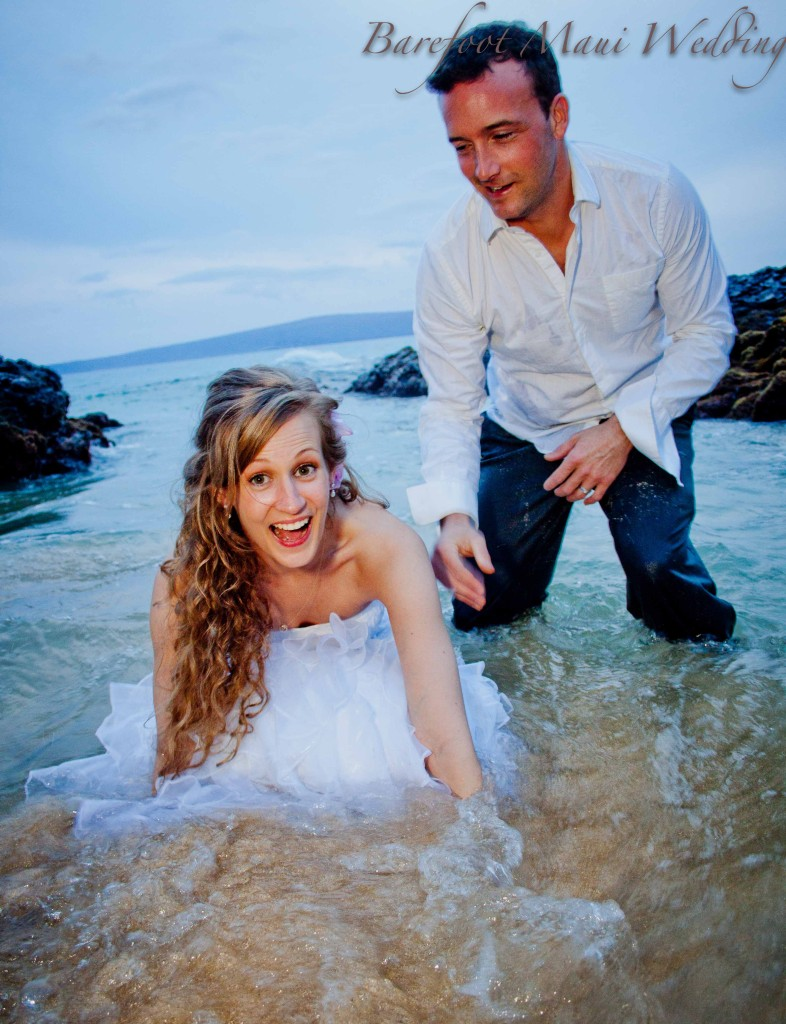 Barefoot Maui Wedding Trash the Dress Makena Cove