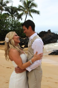Barefoot Maui Wedding Maui Beach wedding photo at Makena Cove Secret Beach