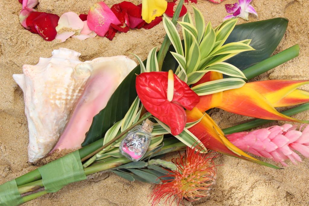 Barefoot Maui Wedding Long Stemmed Bouquet Maui beach wedding or vow renewal