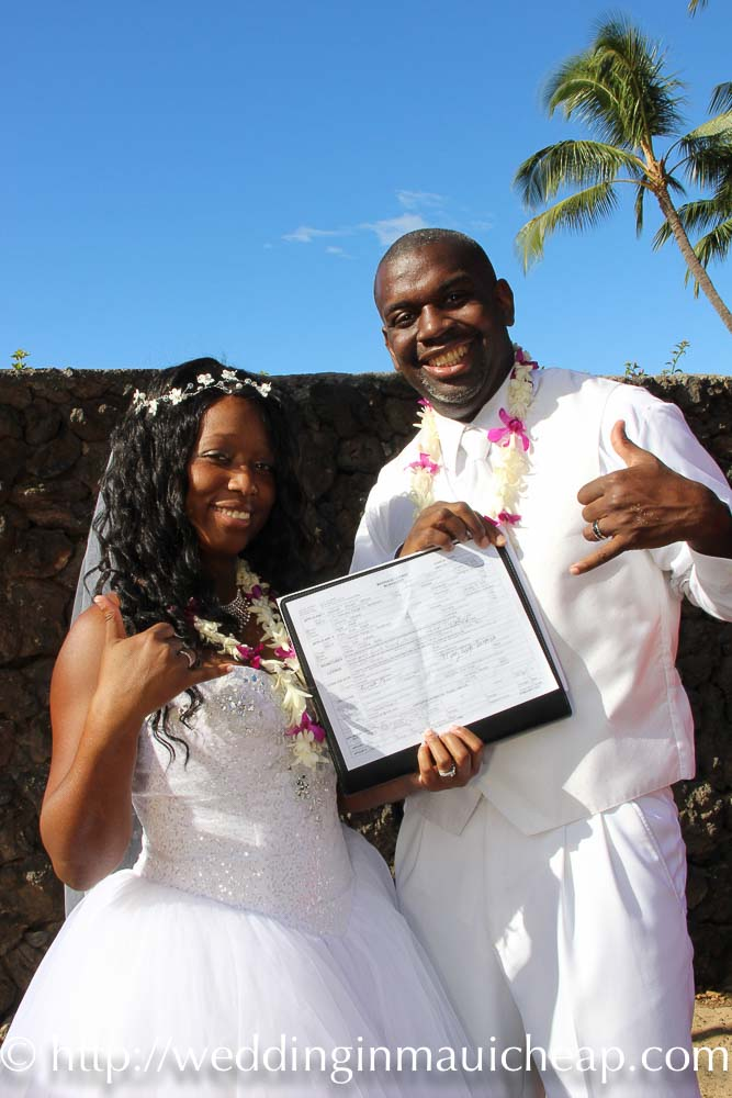 Affordable Barefoot Maui wedding packages include marriage certificate instructions on Hawaii - Cheap Maui Weddings